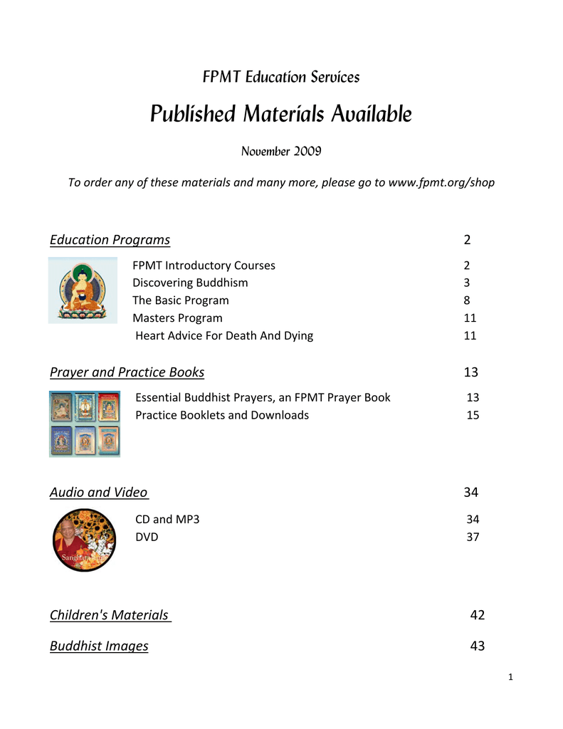 Published Materials Available