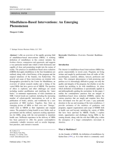 Mindfulness-Based Interventions: An Emerging