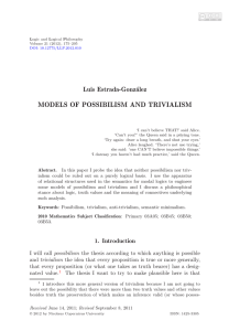 MODELS OF POSSIBILISM AND TRIVIALISM