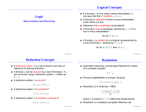 Logic Logical Concepts Deduction Concepts Resolution