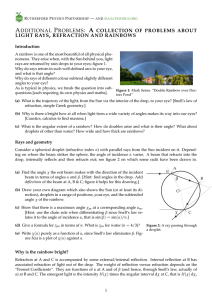 a collection of problems about light rays, refraction and rainbows