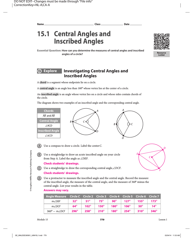 15 1 Central Angles And Inscribed Angles