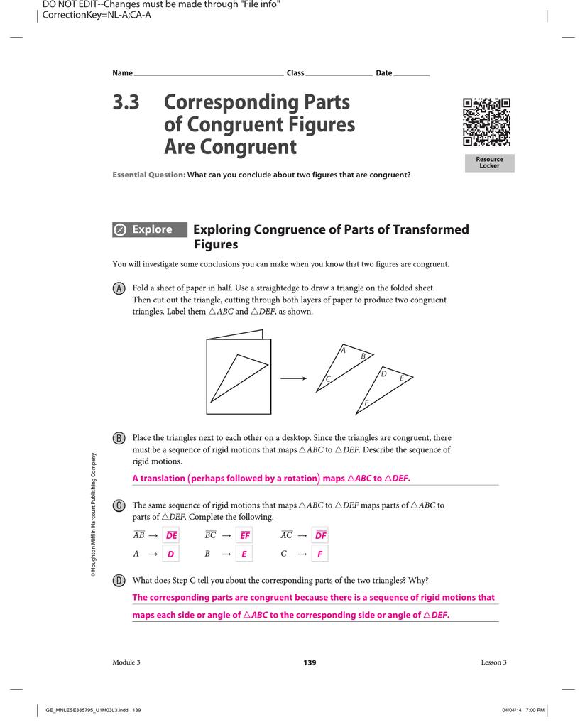 worksheet Congruent Figures Worksheet 3 corresponding parts of congruent figures are congruent
