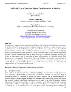 Zakat and Poverty Alleviation - International Journal of Arts and