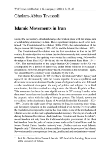 Gholam-Abbas Tavassoli Islamic Movements in Iran