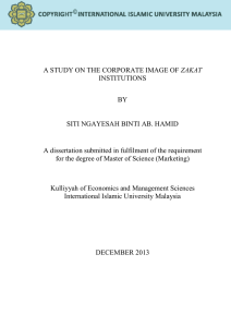 A STUDY ON THE CORPORATE IMAGE OF ZAKAT INSTITUTIONS