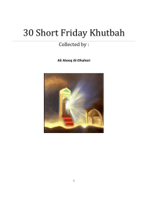 30 Short Friday Khutbah - Muslim Library Muslim Library