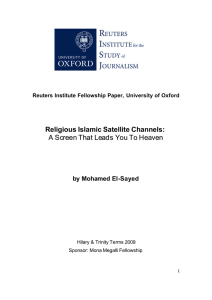 Religious Islamic Satellite Channels: A Screen That Leads