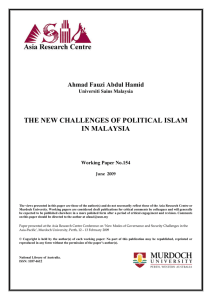 the new challenges of political islam in malaysia
