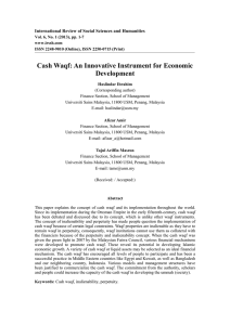 Cash Waqf: An Innovative Instrument for Economic