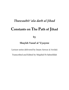 Thawaabit ``ala darb al Jihad Constants on The Path of Jihad