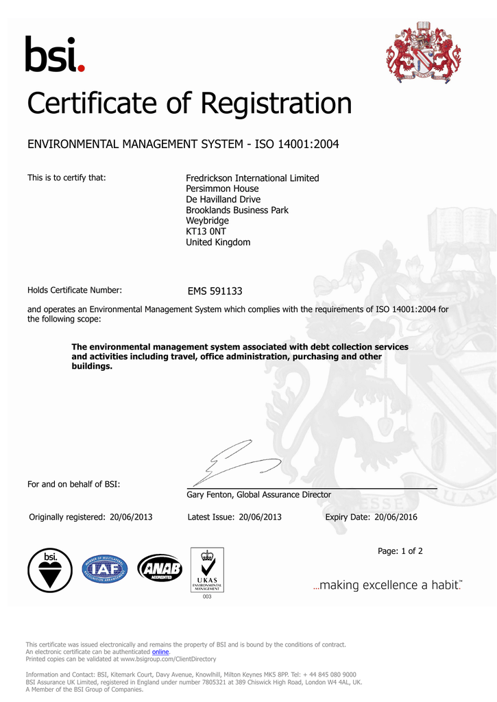 Fredrickson Debt Collection >> Certificate Of Registration Fredrickson International Ltd