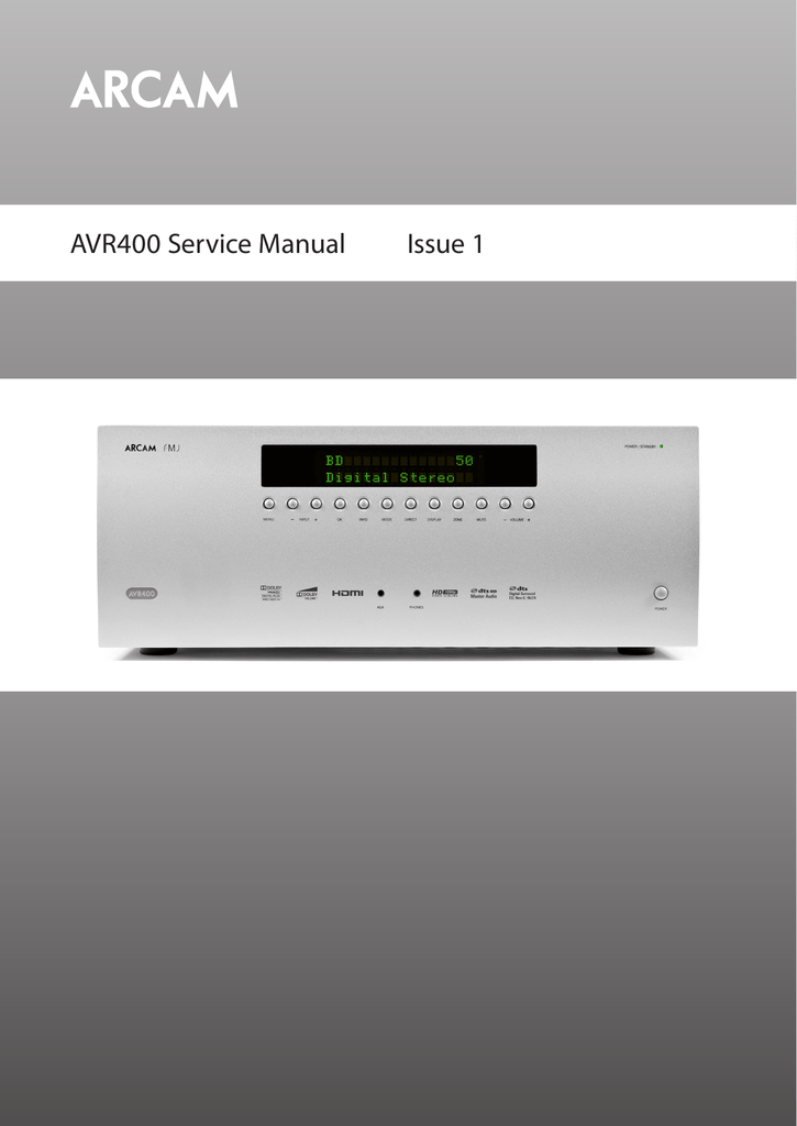AVR400 Service Manual Issue 1 on