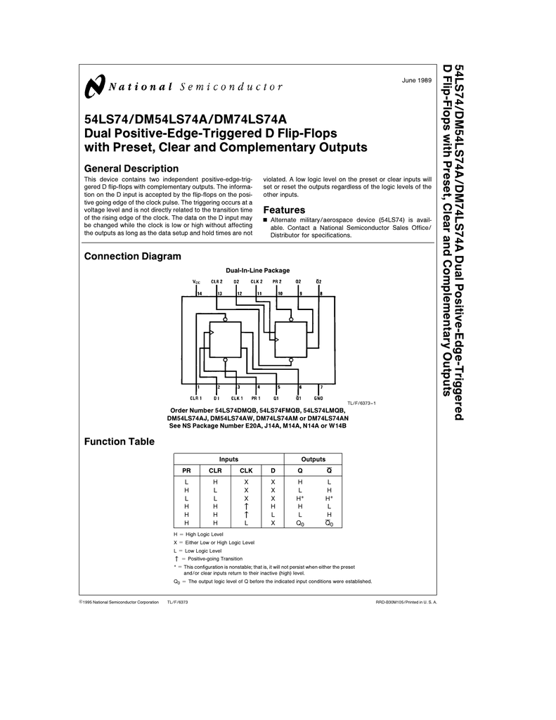 54ls74 Dm54ls74a Dm74ls74a Dual Positive Edge 2 Level Logic Diagram
