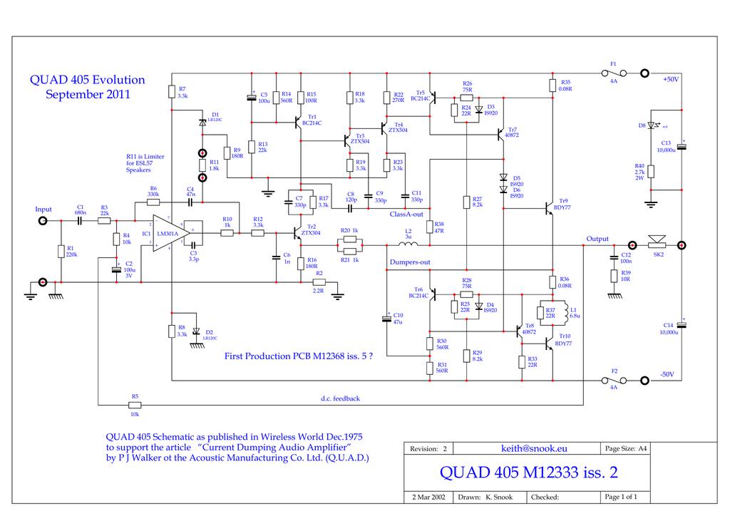 QUAD 405 Evolution - Keith Quad Schematic on