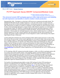 PCTF® Approach Saves MW/RF Component/Module Costs