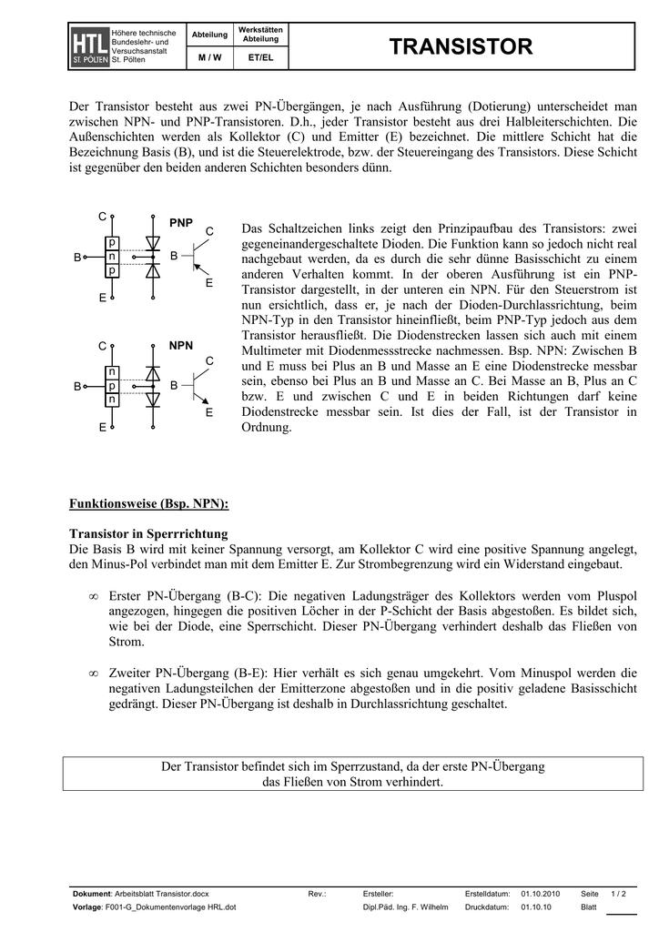 Arbeitsblatt Transistor