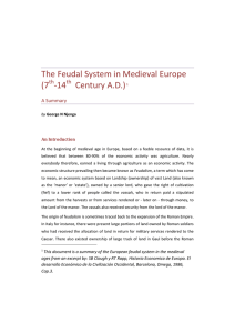 The Feudal system in Medieval Europe (7th