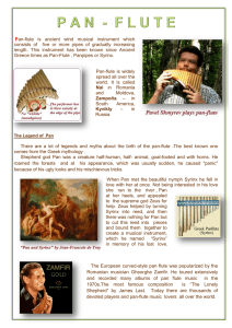 Pan-flute is ancient wind musical instrument which consists of five or