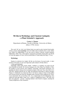 Mt Ida in Mythology and Classical Antiquity