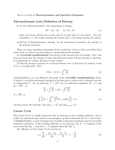 Thermodynamic Laws/Definition of Entropy Carnot Cycle