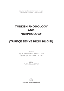 turkish phonology and morphology (türkçe ses ve