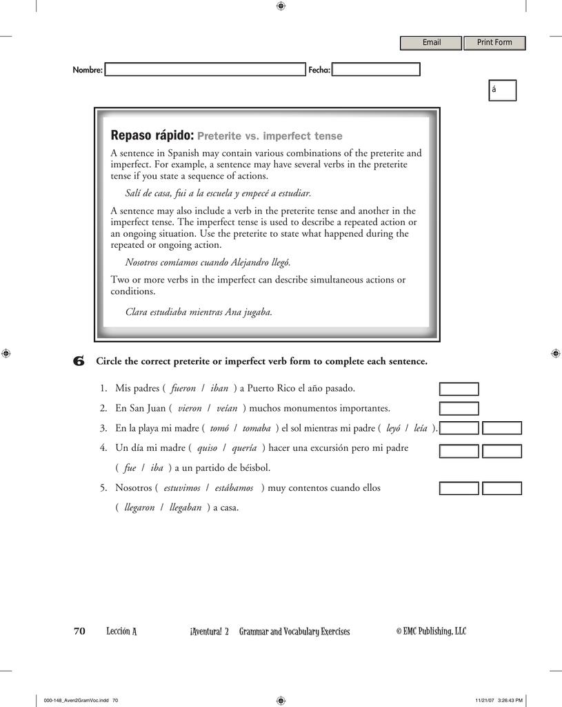 Worksheets Preterite Vs Imperfect Worksheet workbooks preterite vs imperfect practice worksheets with repaso tense
