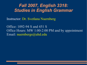 Fall 2007, English 3318: Studies in English Grammar