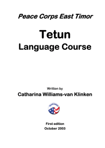 Peace Corps Tetun Language