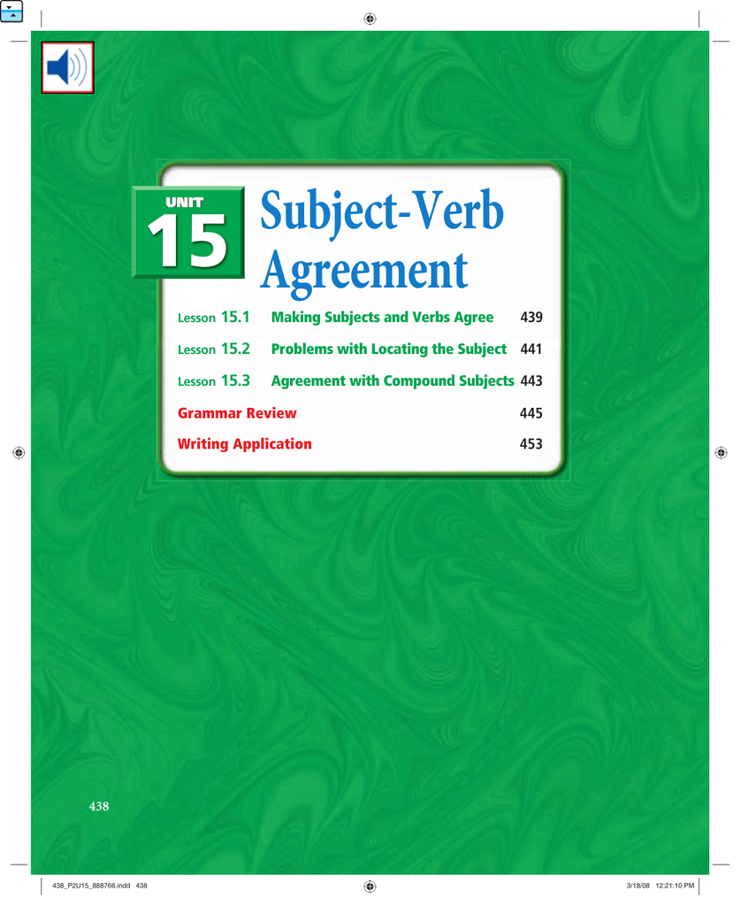 15 Subject Verb Agreement 151