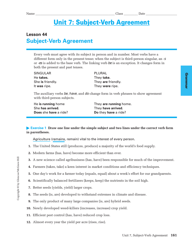 Unit 7 Subject Verb Agreement Subject Verb Agreement Lesson 44