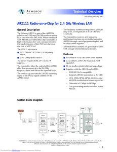 AR2111 Radio-on-a-Chip for 2.4 GHz Wireless LAN