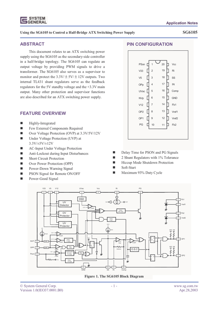 sg6105 abstract feature overview pinStantby 2 Atx Smps Atx Smps Circuit Atx Smps Schematic Sg6848 Sg6105 #4
