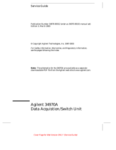 Agilent 34970A Service Guide - Department of Mechanical