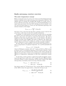 Radio astronomy receiver overview