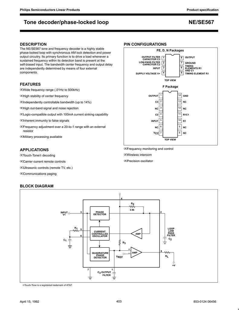 lm567 tone decoderOscillator With Quadrature Output Using 567 Ic #18