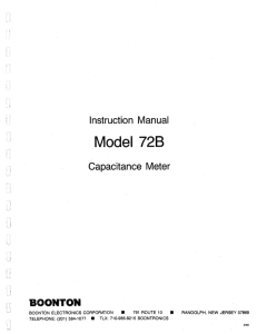Instruction Manual Model 728 Capacitance Meter BOONTON
