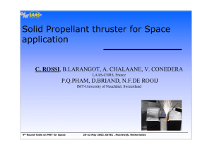 Solid propellant thruster for space application
