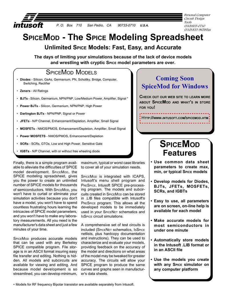 SPICEMOD - The SPICE Modeling Spreadsheet