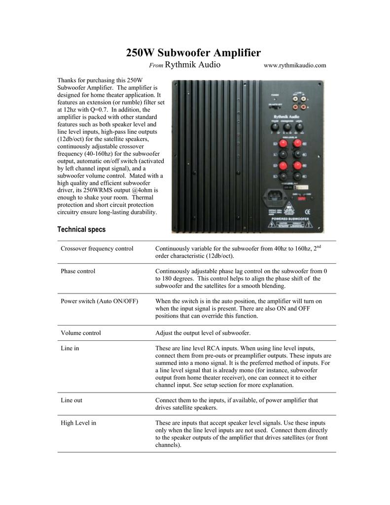 350W Subwoofer Amplifier