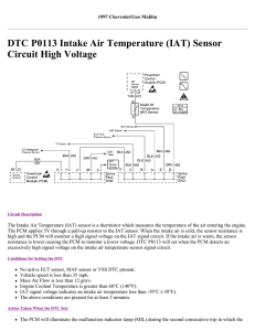 DTC P0113 Intake Air Temperature (IAT) Sensor