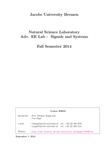Jacobs University Bremen Natural Science Laboratory Fall Semester 2014