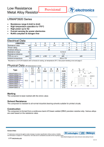 Low Resistance Metal Alloy Resistor Provisional