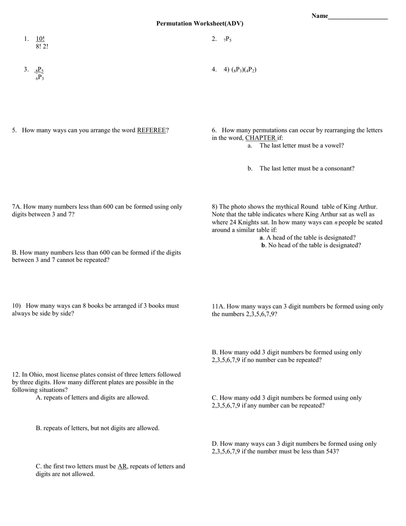 worksheet Permutations Worksheet name permutation worksheetadv