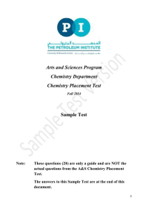 Arts and Sciences Program Chemistry Department Chemistry Placement Test