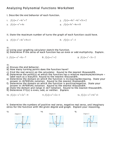 Analyzing Polynomial Functions Worksheet