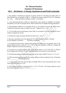 Dr. Vikram Panchal Institute Of Chemistry CH-2 Worksheet: -2