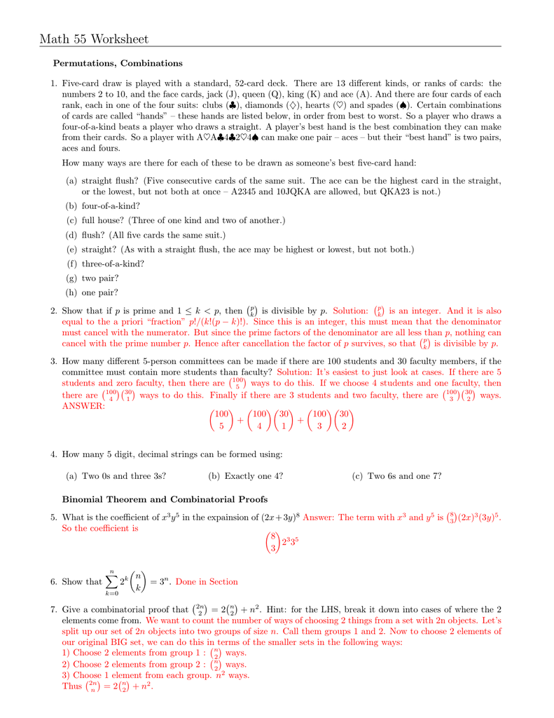 Worksheet Binomial Theorem Worksheet math 55 worksheet