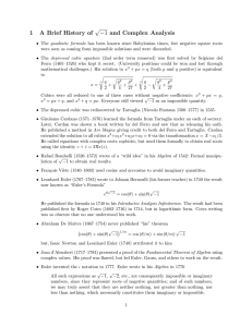 1 A Brief History of √−1 and Complex Analysis