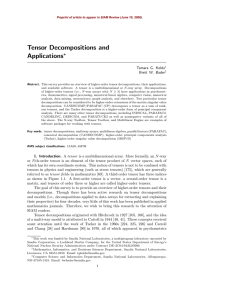 Tensor Decompositions and Applications